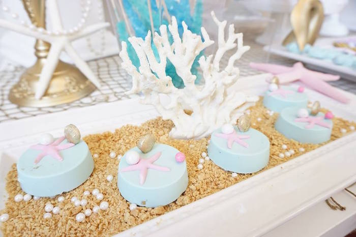 Chocolate covered Oreos from a Pastel Mermaid Party on Kara's Party Ideas | KarasPartyIdeas.com (9)