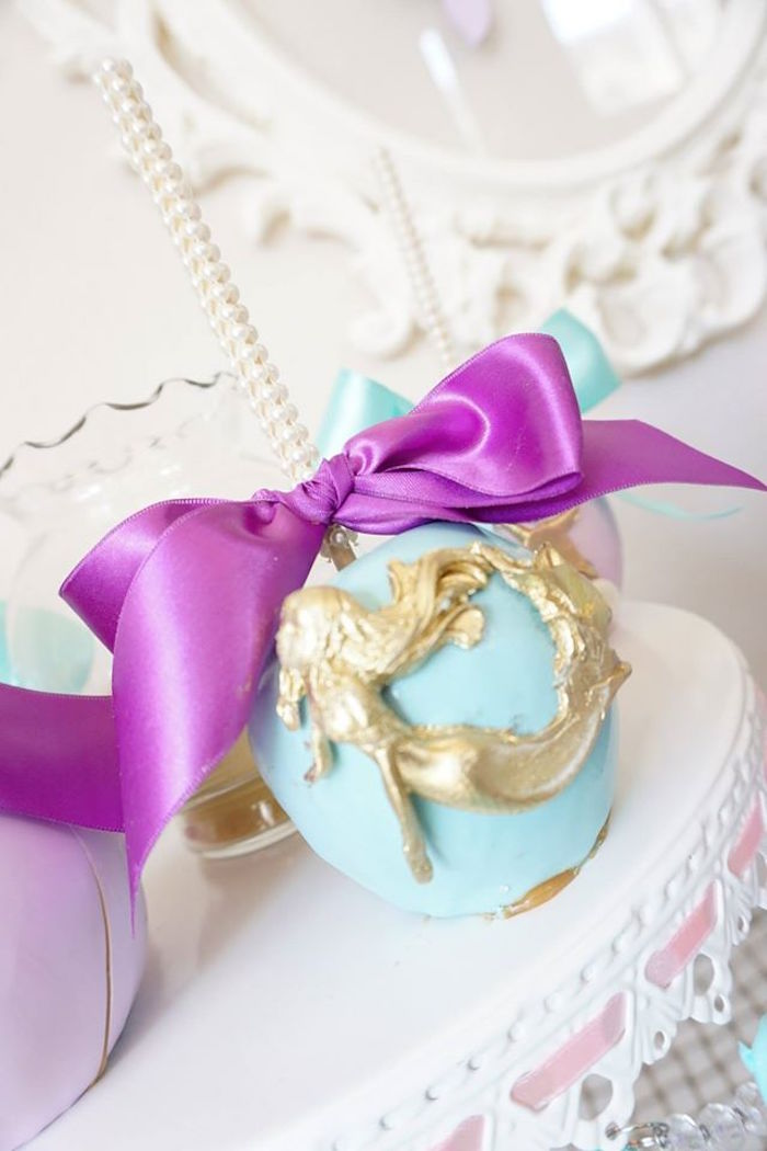 Gourmet caramel apple from a Pastel Mermaid Party on Kara's Party Ideas | KarasPartyIdeas.com (7)