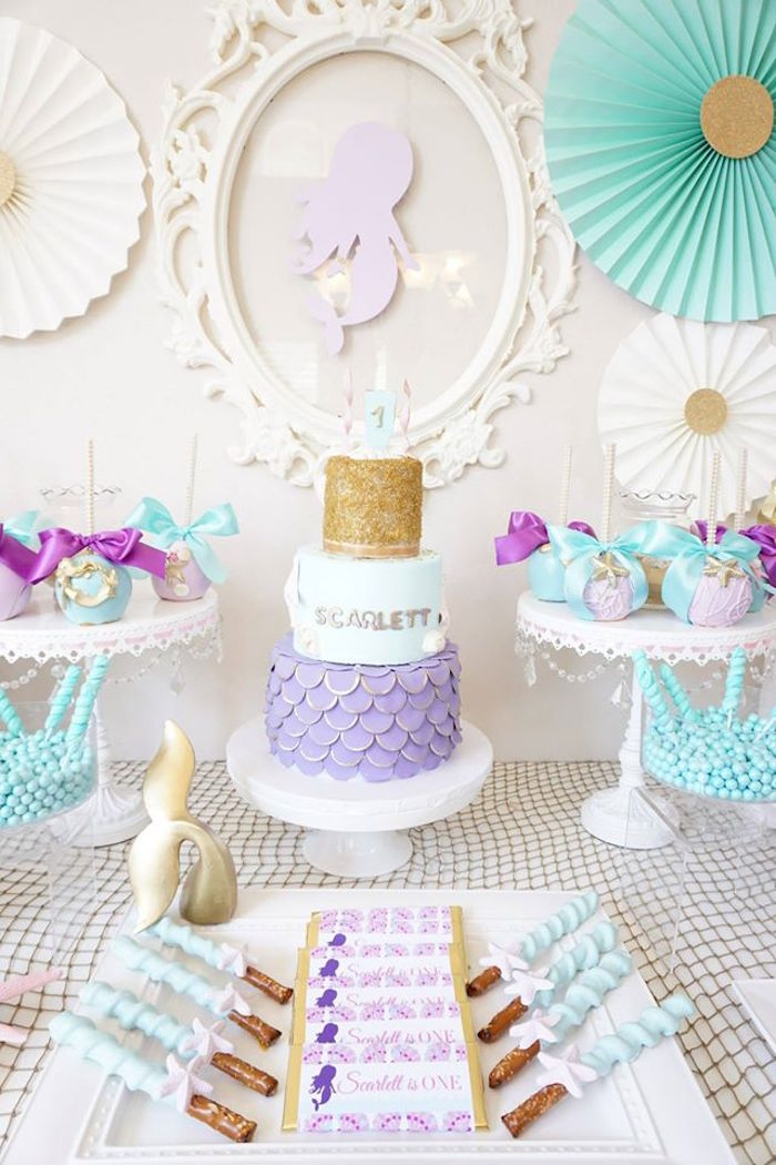 Mermaid cakescape from a Pastel Mermaid Party on Kara's Party Ideas | KarasPartyIdeas.com (6)