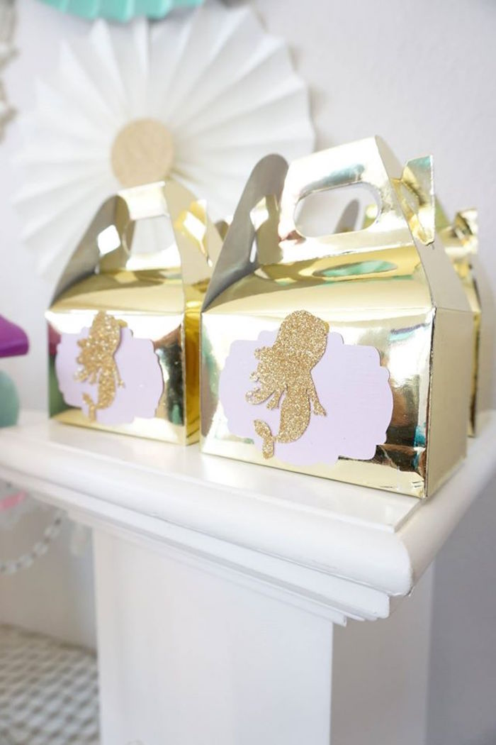 Gold mermaid gable boxes from a Pastel Mermaid Party on Kara's Party Ideas | KarasPartyIdeas.com (5)