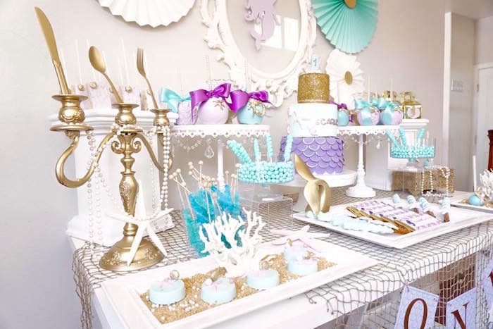 Dessert tablescape from a Pastel Mermaid Party on Kara's Party Ideas | KarasPartyIdeas.com (21)