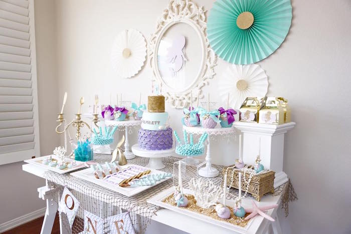 Dessert table from a Pastel Mermaid Party on Kara's Party Ideas | KarasPartyIdeas.com (19)