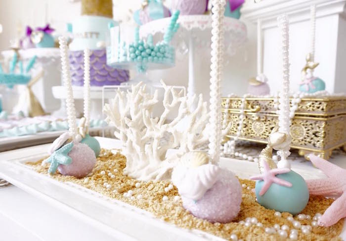 Mermaid + under the sea cake pops from a Pastel Mermaid Party on Kara's Party Ideas | KarasPartyIdeas.com (17)