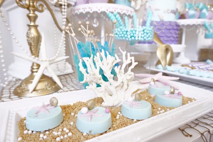 Starfish & shell Oreos from a Pastel Mermaid Party on Kara's Party Ideas | KarasPartyIdeas.com (16)