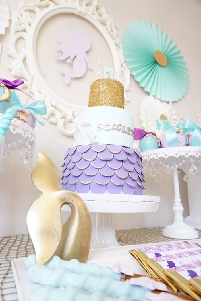 Mermaid cake from a Pastel Mermaid Party on Kara's Party Ideas | KarasPartyIdeas.com (13)