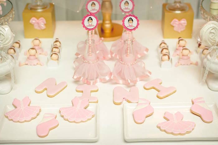 Ballerina cookies + sweets from a Pink Ballerina Birthday Party on Kara's Party Ideas | The Place for All Things PARTY! KarasPartyIdeas.com (34)