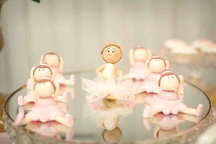 Ballerina truffles placed on a mirrored dessert pedestal from a Pink Ballerina Birthday Party on Kara's Party Ideas | The Place for All Things PARTY! KarasPartyIdeas.com (23)