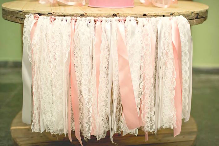 Lace ribbon banner from a Pink Ballerina Birthday Party on Kara's Party Ideas | The Place for All Things PARTY! KarasPartyIdeas.com (44)