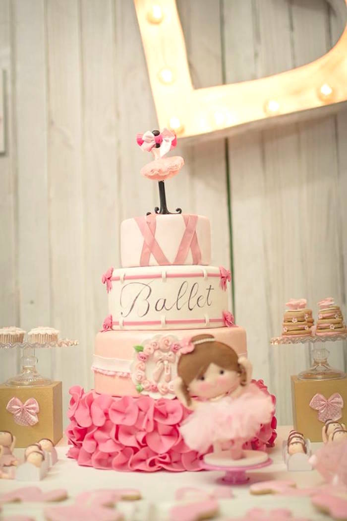 Ballet cake from a Pink Ballerina Birthday Party on Kara's Party Ideas | The Place for All Things PARTY! KarasPartyIdeas.com (10)
