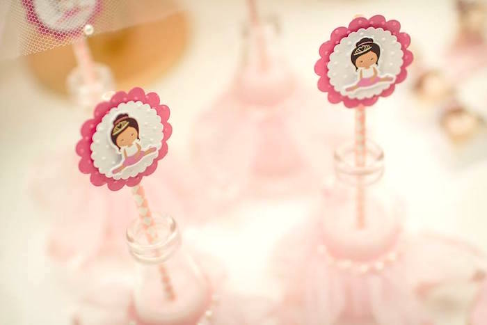 Scalloped ballerina straw/favor toppers from a Pink Ballerina Birthday Party on Kara's Party Ideas | The Place for All Things PARTY! KarasPartyIdeas.com (41)