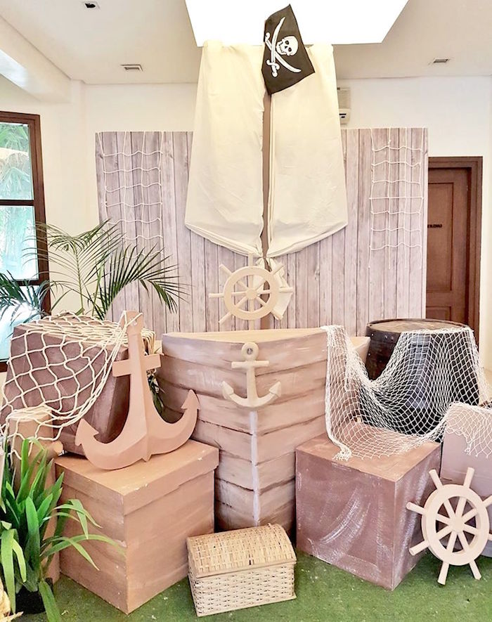 Pirate ship prop from a Pirate Birthday Party on Kara's Party Ideas | KarasPartyIdeas.com (12)