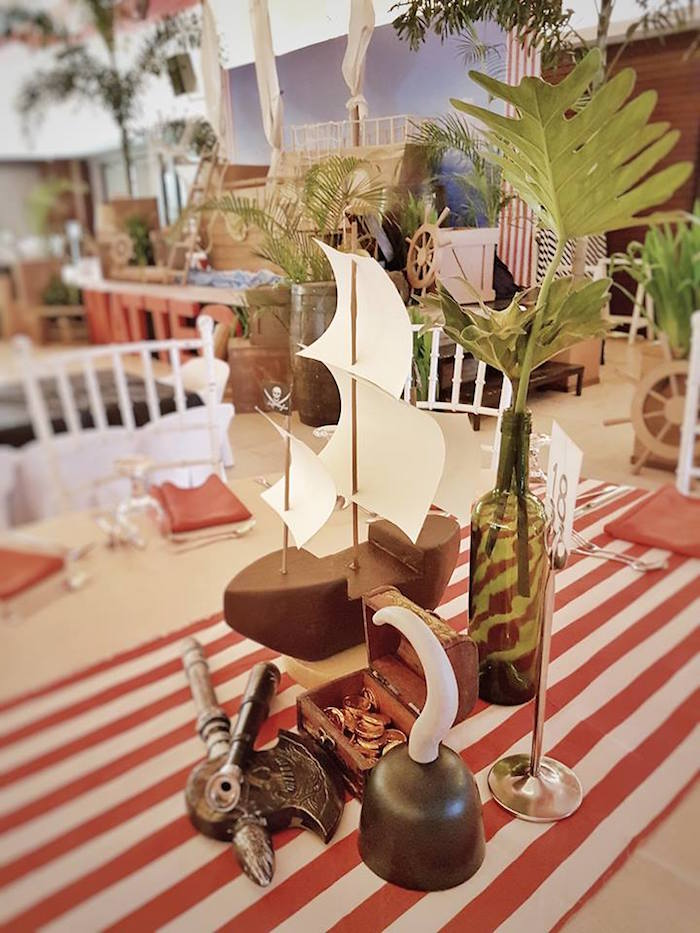 Guest table centerpieces from a Pirate Birthday Party on Kara's Party Ideas | KarasPartyIdeas.com (11)