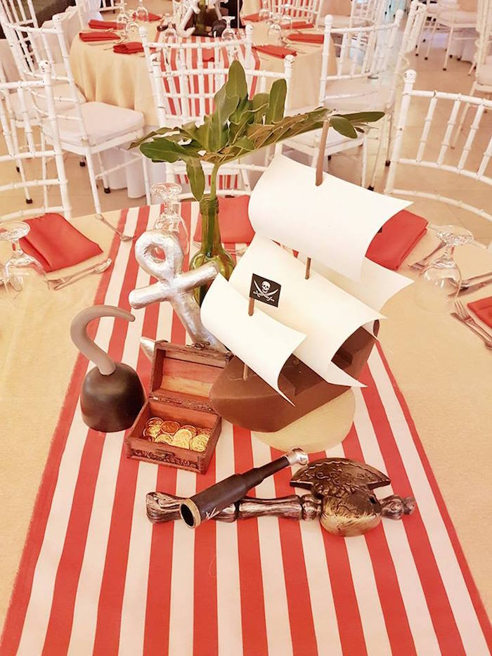 Guest table decor from a Pirate Birthday Party on Kara's Party Ideas | KarasPartyIdeas.com (10)