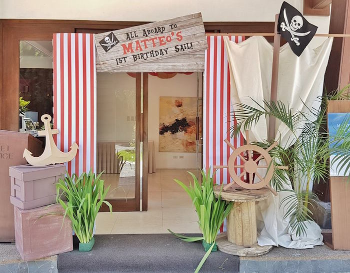 Pirate Party entrance from a Pirate Birthday Party on Kara's Party Ideas | KarasPartyIdeas.com (8)