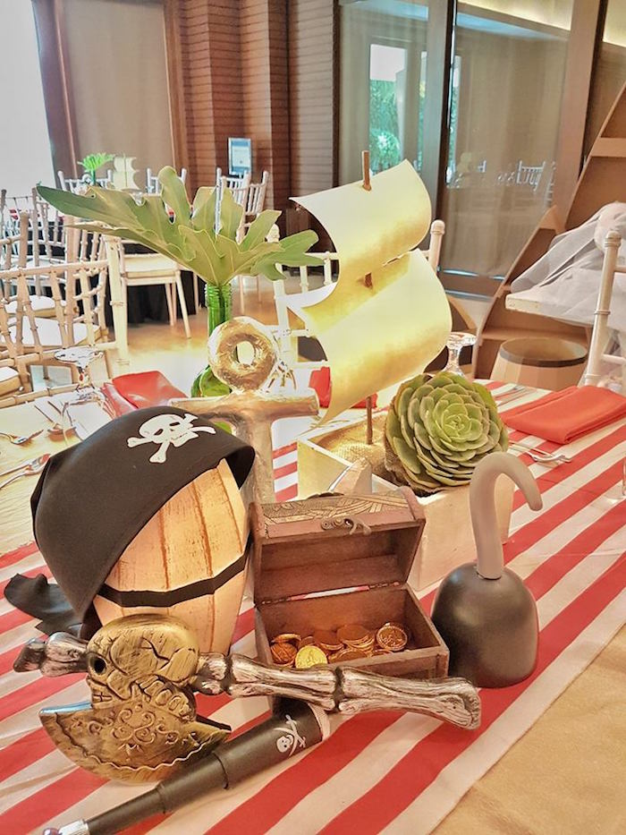 Guest table from a Pirate Birthday Party on Kara's Party Ideas | KarasPartyIdeas.com (30)