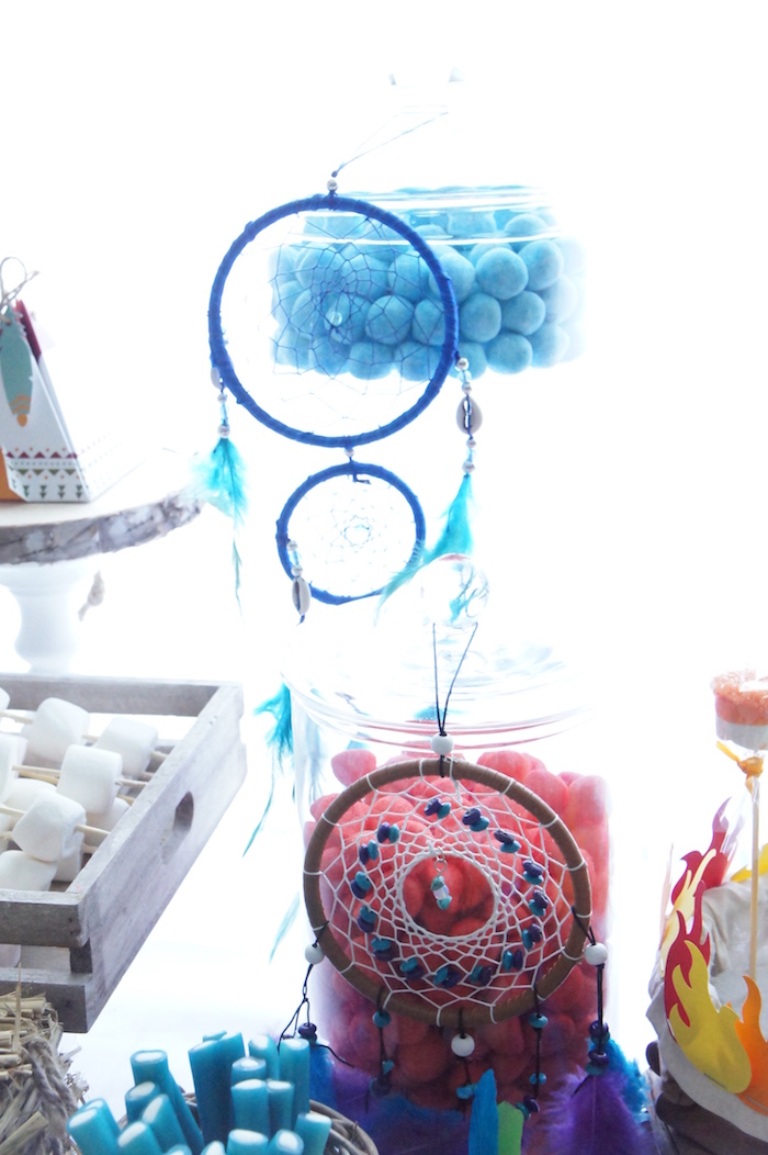 Dreamcatchers and candy jars from a Pow Wow Birthday Party on Kara's Party Ideas | KarasPartyIdeas.com (11)