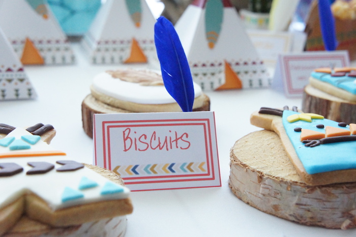 Feather adorned sweet label & sugar cookies from a Pow Wow Birthday Party on Kara's Party Ideas | KarasPartyIdeas.com (9)
