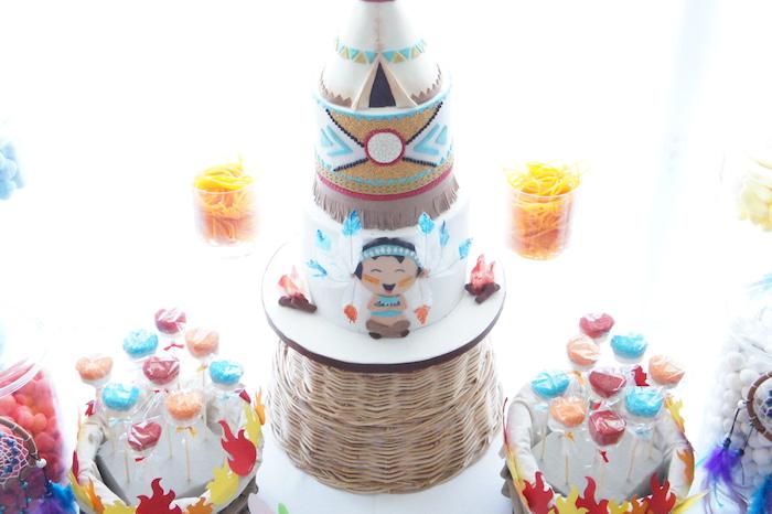 Pow Wow Cake & fire pops from a Pow Wow Birthday Party on Kara's Party Ideas | KarasPartyIdeas.com (8)