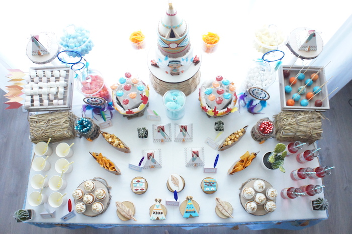 Top-view of dessert table from a Pow Wow Birthday Party on Kara's Party Ideas | KarasPartyIdeas.com (7)