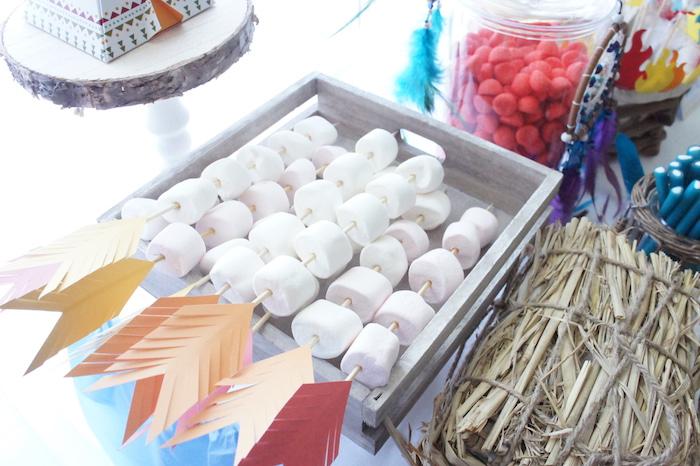 Marshmallow arrow kabobs from a Pow Wow Birthday Party on Kara's Party Ideas | KarasPartyIdeas.com (6)