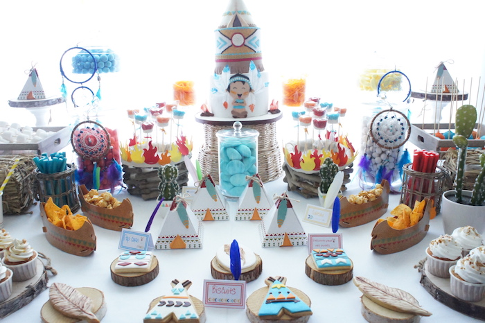 Sweet spread from a Pow Wow Birthday Party on Kara's Party Ideas | KarasPartyIdeas.com (5)