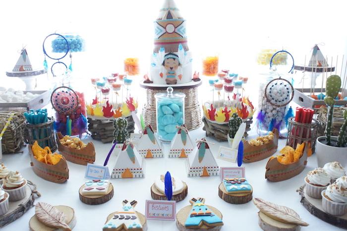 Sweet spread from a Pow Wow Birthday Party on Kara's Party Ideas | KarasPartyIdeas.com (5)