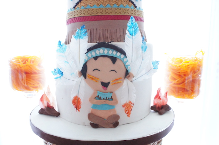 Cake detail from a Pow Wow Birthday Party on Kara's Party Ideas | KarasPartyIdeas.com (4)