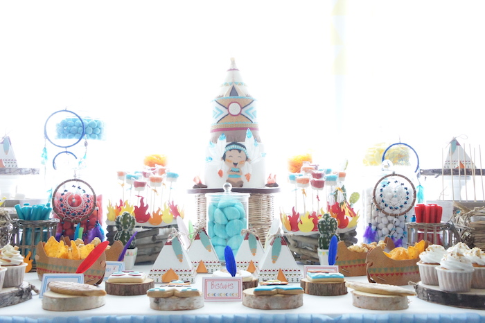 Dessert table spread from a Pow Wow Birthday Party on Kara's Party Ideas | KarasPartyIdeas.com (19)
