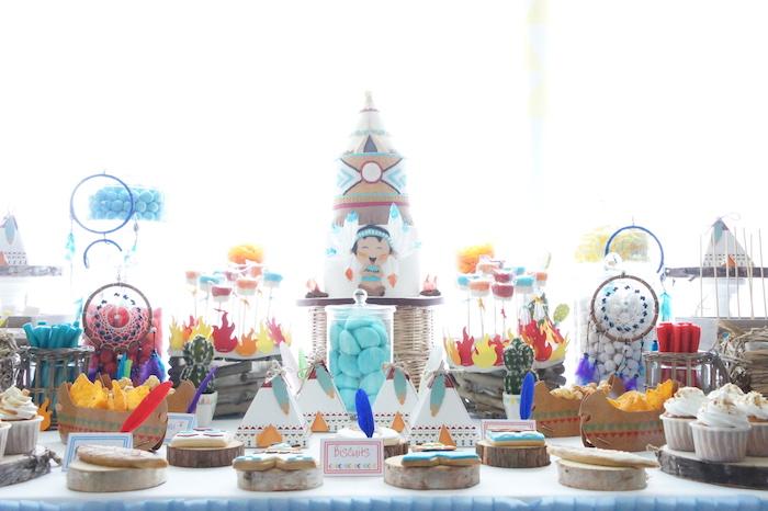 Dessert table spread from a Pow Wow Birthday Party on Kara's Party Ideas | KarasPartyIdeas.com (19)