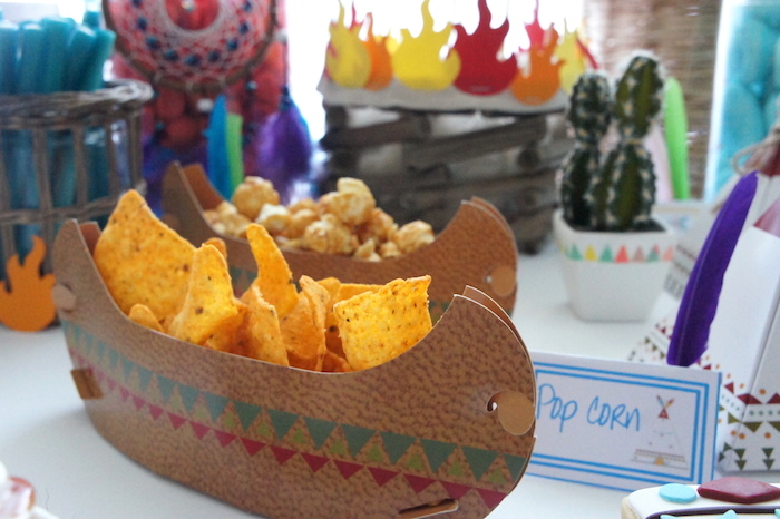 Snacks placed in paper canoes from a Pow Wow Birthday Party on Kara's Party Ideas | KarasPartyIdeas.com (17)