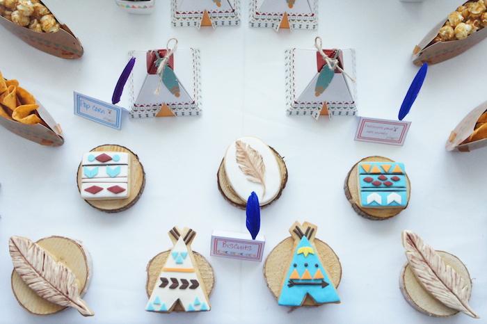 Tribal sugar cookies from a Pow Wow Birthday Party on Kara's Party Ideas | KarasPartyIdeas.com (16)