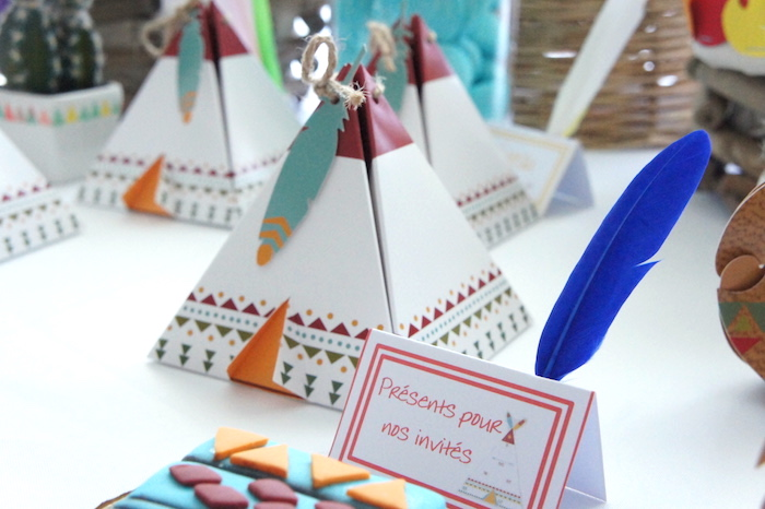 Teepee favor boxes from a Pow Wow Birthday Party on Kara's Party Ideas | KarasPartyIdeas.com (14)