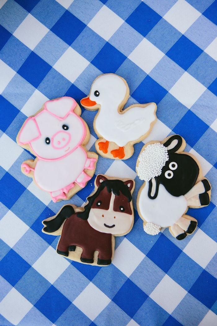 Farm animal cookies from a Preppy Barnyard Farm Party on Kara's Party Ideas | KarasPartyIdeas.com (41)