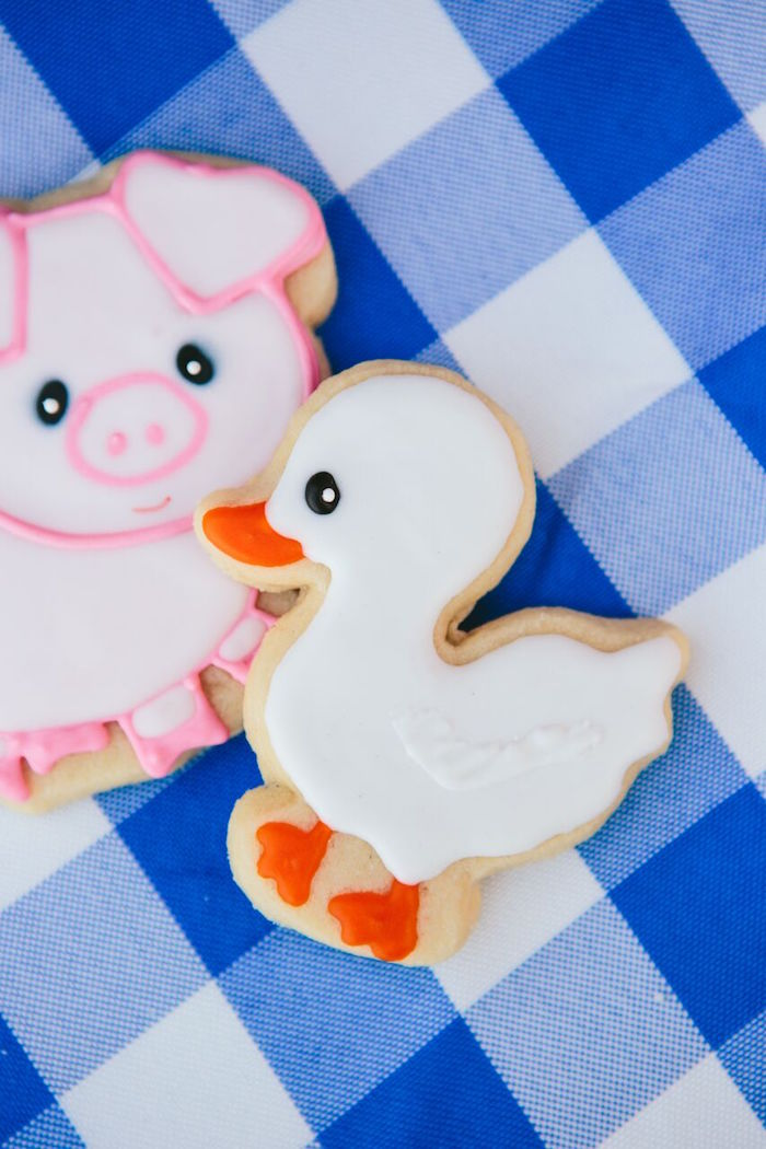 Duck & pig sugar cookies from a Preppy Barnyard Farm Party on Kara's Party Ideas | KarasPartyIdeas.com (40)