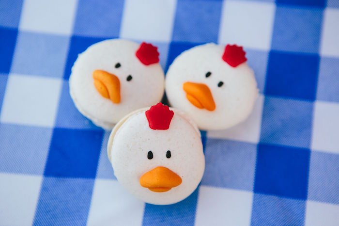 Chicken macarons from a Preppy Barnyard Farm Party on Kara's Party Ideas | KarasPartyIdeas.com (39)