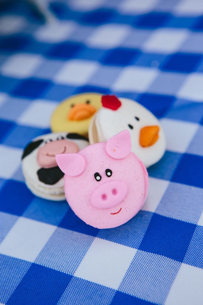 Pig macaron from a Preppy Barnyard Farm Party on Kara's Party Ideas | KarasPartyIdeas.com (38)
