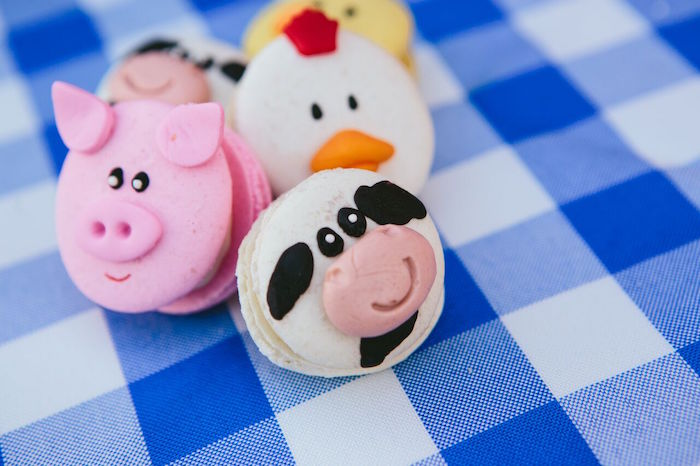 Barnyard animal macarons from a Preppy Barnyard Farm Party on Kara's Party Ideas | KarasPartyIdeas.com (37)