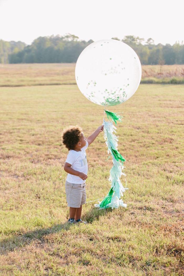 Oversized confetti balloon with tassel tail from a Preppy Barnyard Farm Party on Kara's Party Ideas | KarasPartyIdeas.com (34)