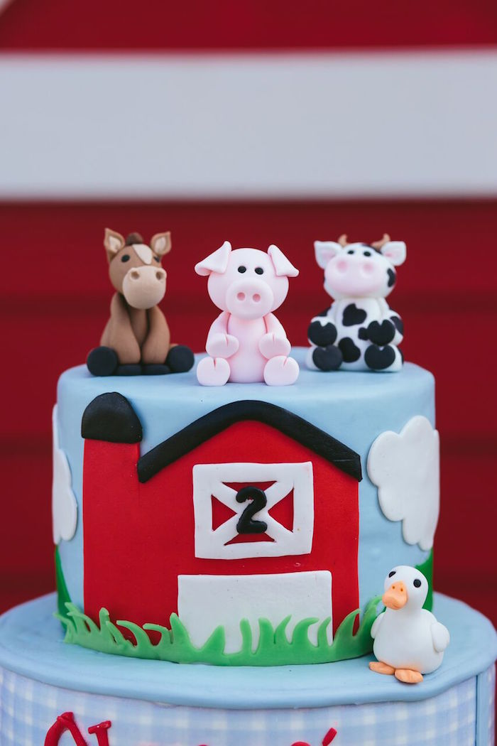 Barnyard cake from a Preppy Barnyard Farm Party on Kara's Party Ideas | KarasPartyIdeas.com (33)