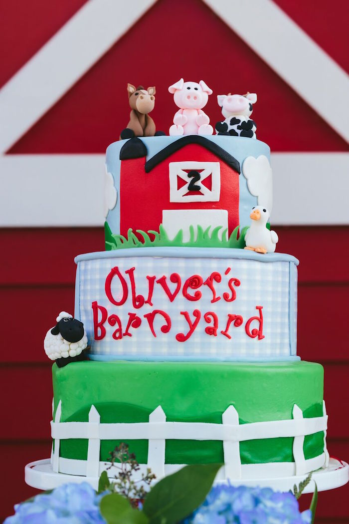 Barnyard cake from a Preppy Barnyard Farm Party on Kara's Party Ideas | KarasPartyIdeas.com (32)