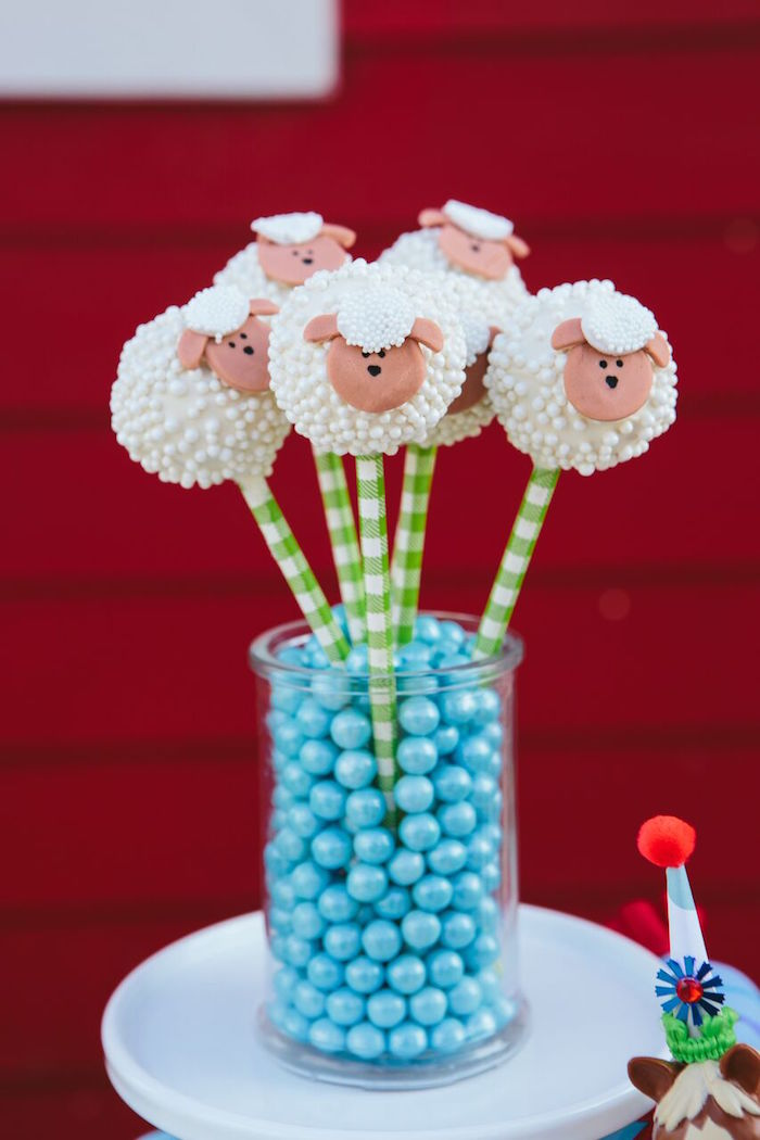 Sheep cake pops from a Preppy Barnyard Farm Party on Kara's Party Ideas | KarasPartyIdeas.com (31)