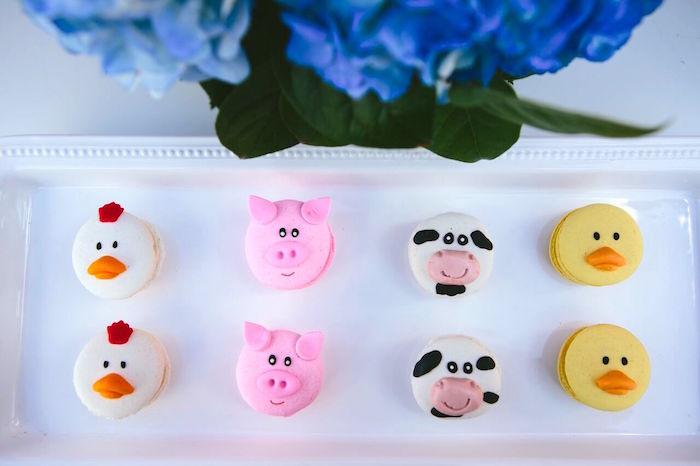 Barnyard animal macarons from a Preppy Barnyard Farm Party on Kara's Party Ideas | KarasPartyIdeas.com (30)
