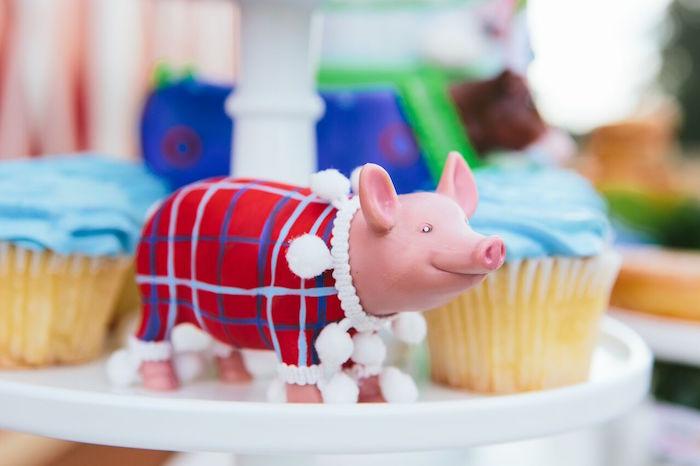 Pom pom pig from a Preppy Barnyard Farm Party on Kara's Party Ideas | KarasPartyIdeas.com (28)