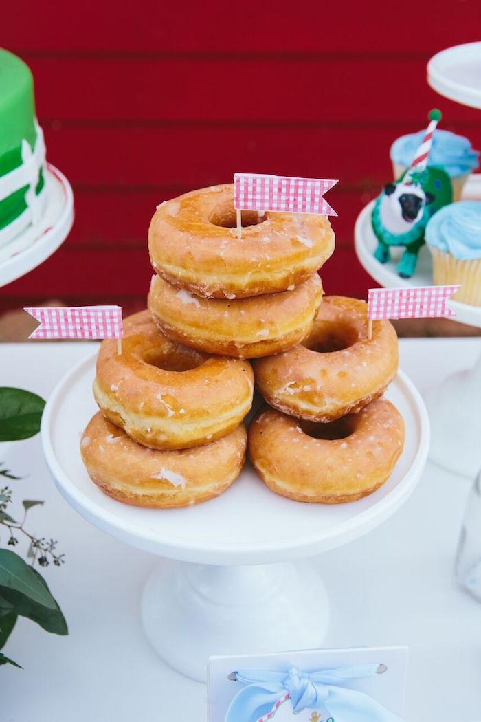 Stacked donuts from a Preppy Barnyard Farm Party on Kara's Party Ideas | KarasPartyIdeas.com (26)