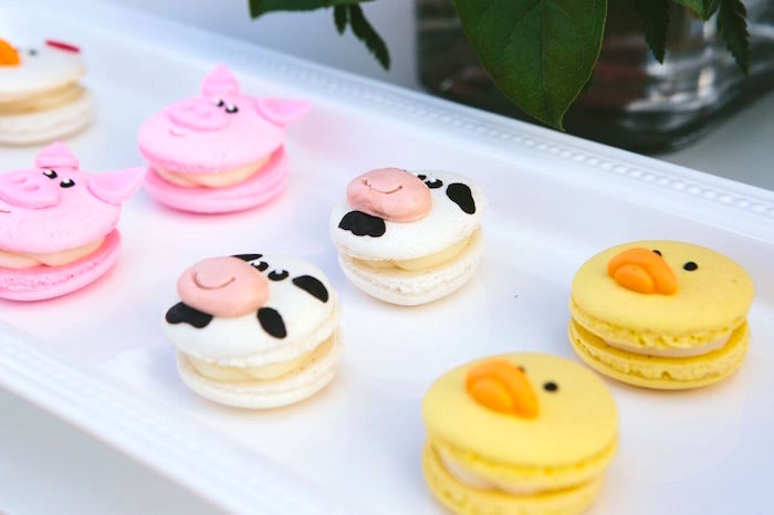 Farm animal macarons from a Preppy Barnyard Farm Party on Kara's Party Ideas | KarasPartyIdeas.com (18)