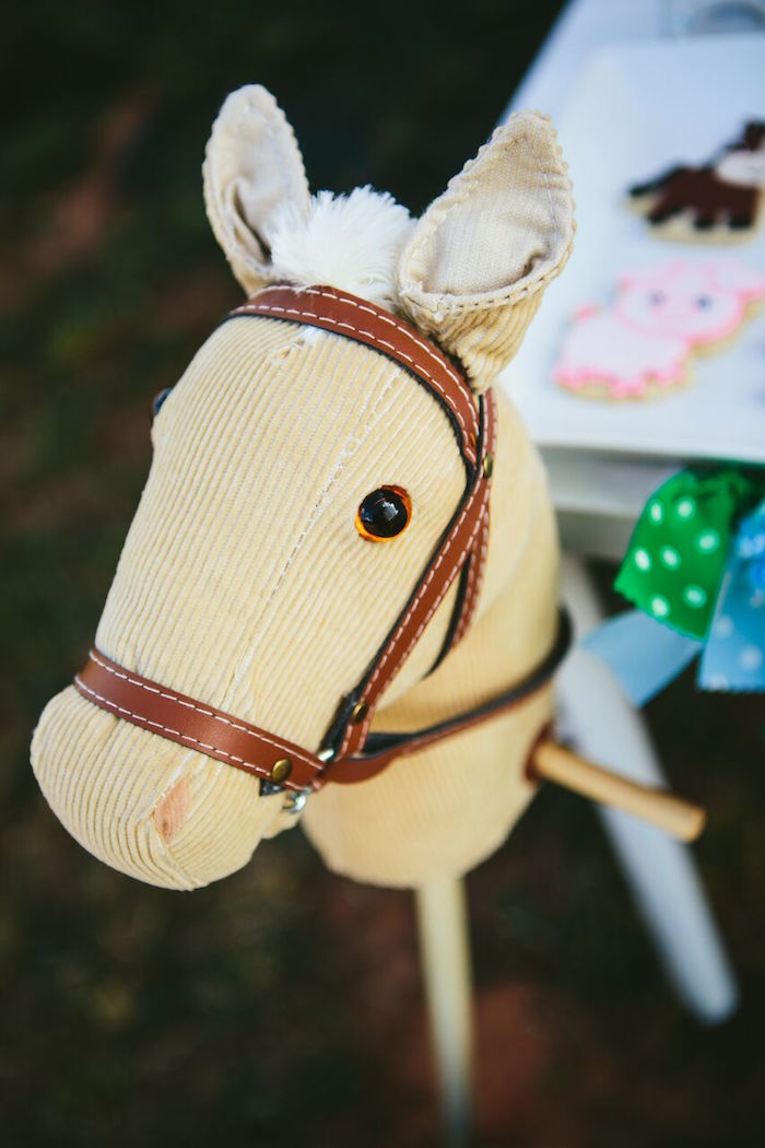 Stick horse from a Preppy Barnyard Farm Party on Kara's Party Ideas | KarasPartyIdeas.com (16)