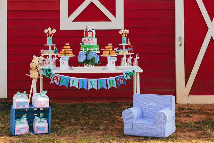 Dessert table spread from a Preppy Barnyard Farm Party on Kara's Party Ideas | KarasPartyIdeas.com (15)