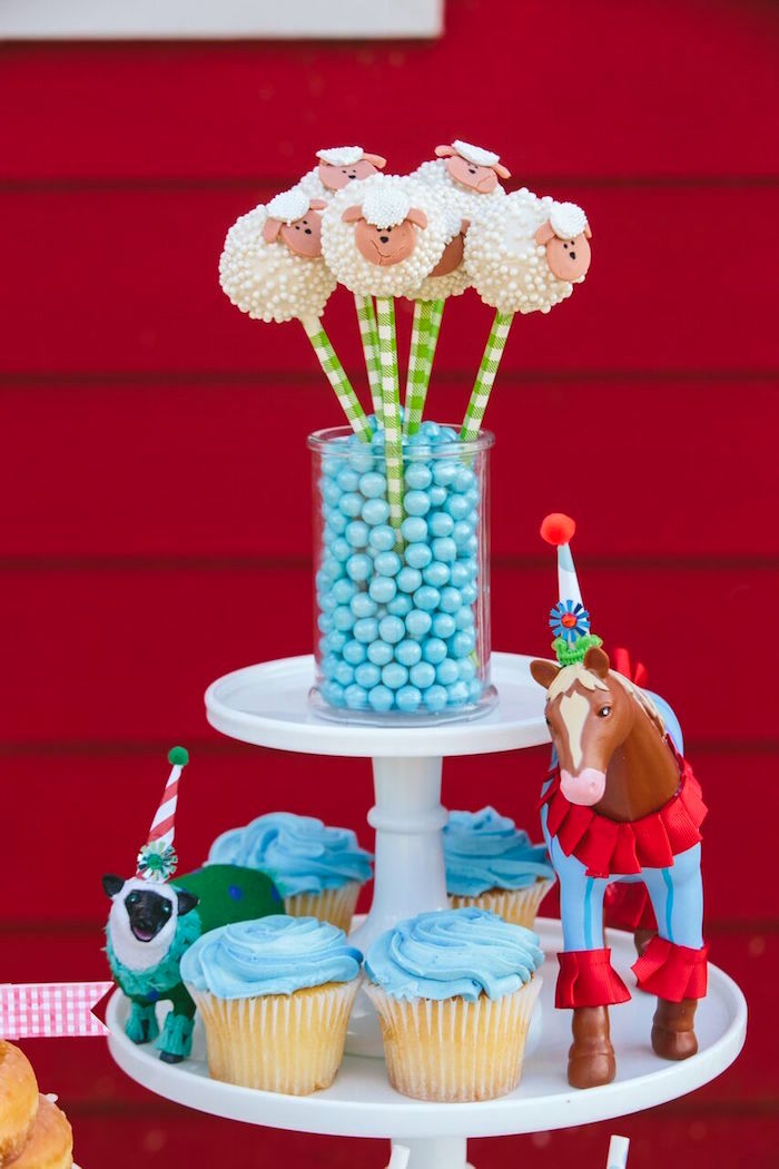 Cake pop & cupcake stand from a Preppy Barnyard Farm Party on Kara's Party Ideas | KarasPartyIdeas.com (12)
