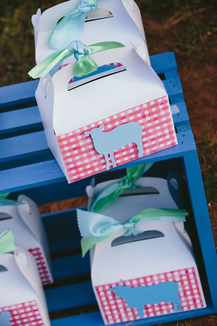 Gable farm animal favor boxes from a Preppy Barnyard Farm Party on Kara's Party Ideas | KarasPartyIdeas.com (10)