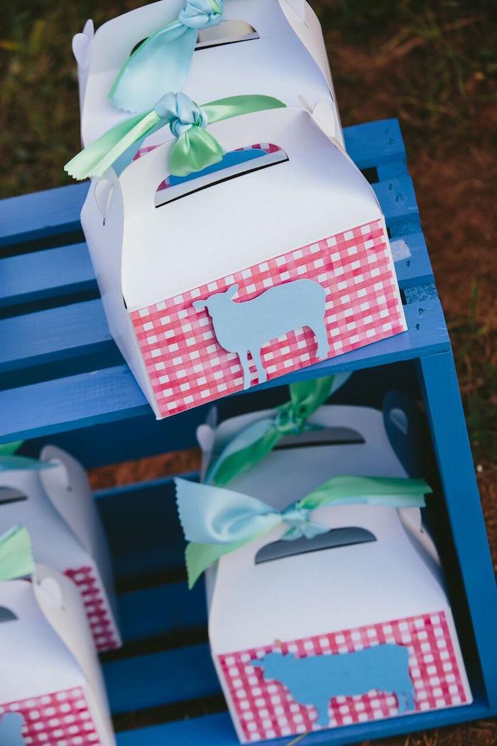 Gable farm animal favor boxes from a Preppy Barnyard Farm Party on Kara's Party Ideas | KarasPartyIdeas.com (10)